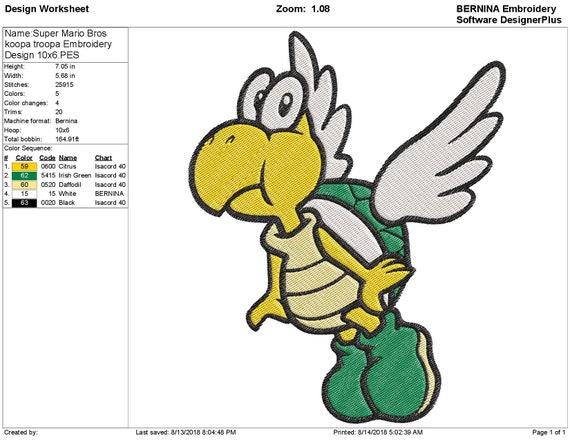 Super Mario Bros Koopa Troopa Embroidery Design