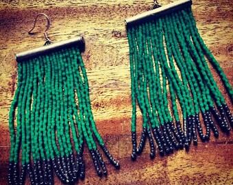 Doctor's Green Fringe Earrings