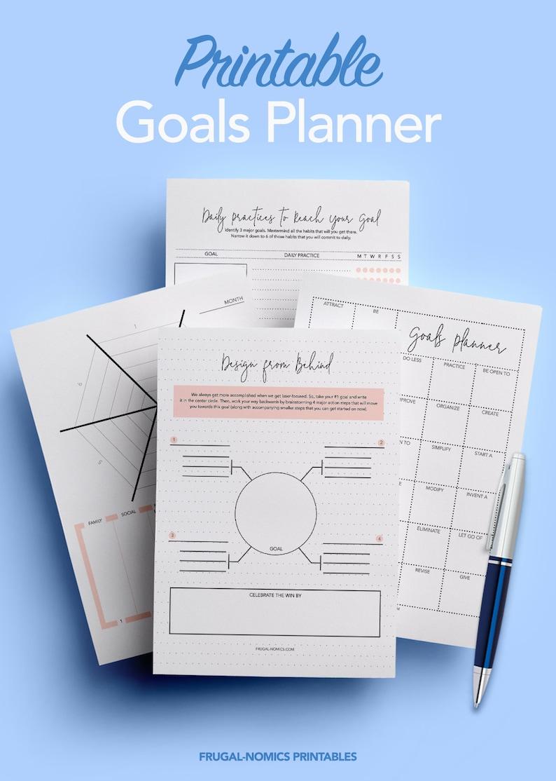 Goal Planner Goal Tracker Printable Planner Instant image 0
