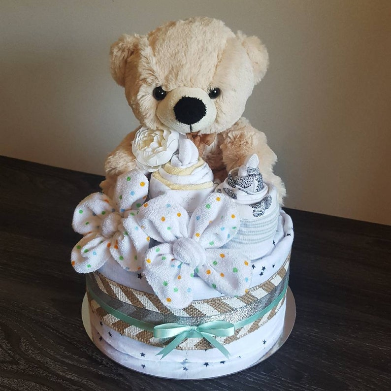 Andy Bear: gender neutral nappy cake image 1