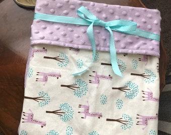 Lavender Giraffes Baby Minky Blanket