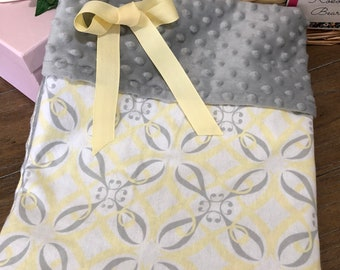 Soft Yellow and Gray Patterned Baby Minky Blanket