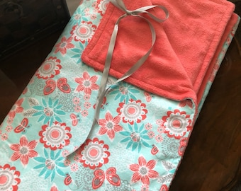 Baby Minky Peach and Turquoise Floral Blanket