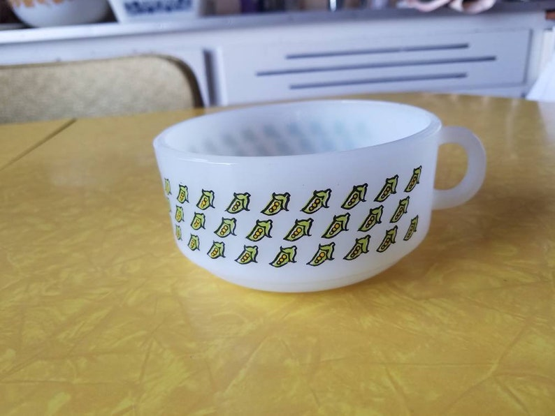 Image result for Glasbake soup bowl PEAS pattern