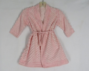 ecf4d6b7ae Vintage Pink Chenille Robe Toddler 1 Bathrobe Matching Belt Sanitex