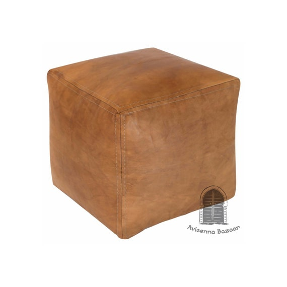 Awesome Square Leather Pouf Tan Moroccan Pouf Leather Pouf Ottoman Ncnpc Chair Design For Home Ncnpcorg