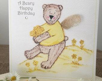Beary Happy Birthday Card, Bear Birthday Card, Fairy Bear Card, Fairy Bear Birthday Card, Yellow Bear Card, Flicker Wings by Sue Coleman