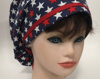 4th of July Indepenence day - USA stars surgical scrub cap 76e2e3b7c