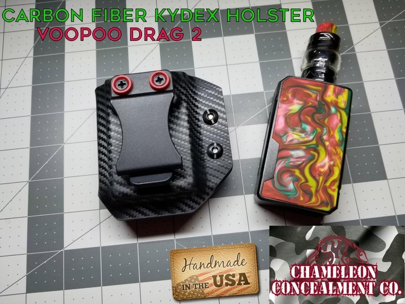 Kydex Holster Carbon Fiber  Fits VooPoo Drag 2  Hand made in the USA  Many  Colors To Pick From  FREE SHIPPPING