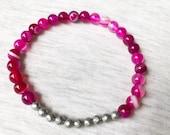 Pink Agate Bracelet, Stre...