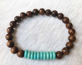 Turquoise and Wood Bracel...