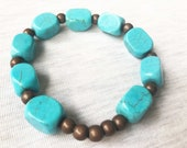 Turquoise and Brass Brace...
