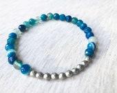 Blue Agate Bracelet, Stre...