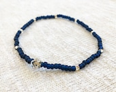 Navy Blue Anklet, Stretch...