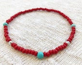 Anklet, Turquoise and Red...
