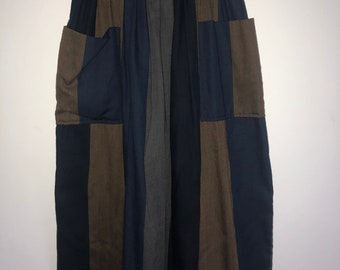 Brown, blue and grey striped skirt