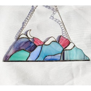 Gift Christmas Stained Glass Summer Day Mountain Range Birthday