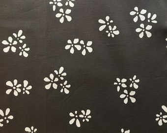 Flora Print Hemp Organic Cotton Heavyweight Canvas 485gsm 13oz | Charcoal base colour with White ink | Upholstery, soft furnishing & bags