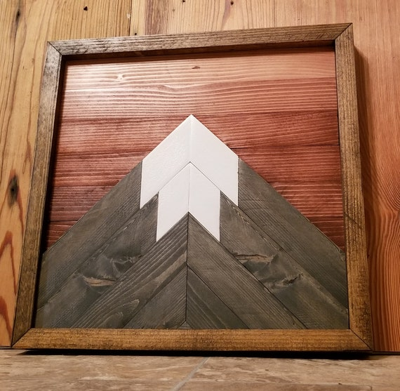 Mountain Wood Art Geometric Wall Art Reclaimed Wood Wall Art Rustic Home Decor Mountain Range Wood Wall Art Modern Wood Art Natiave Outdoor