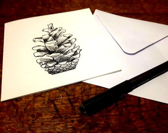 Pinecone Greeting Card - Original drawing in Pen and Ink - Nature art illustration of pine trees