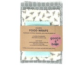 Beeswax Food Wraps   reusable eco friendly alternative to plastic   3 pack