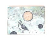 "encaustic painting on wood | Goose Moon| 6"" x 8"""