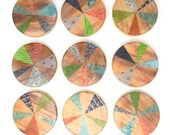 "Colorful Abstract Art | original encaustic paintings on reclaimed wood | set of 9 - 5"" circles 