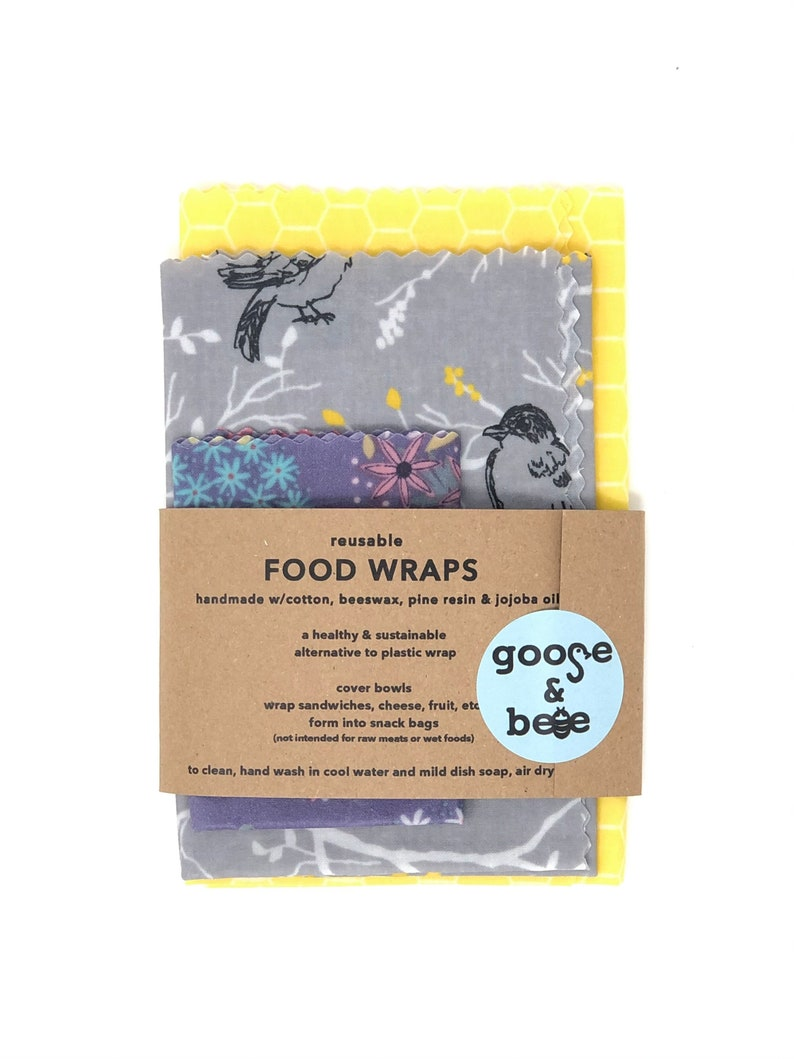 Eco Friendly gift  Beeswax Food Wraps  3 pack  reusable image 0