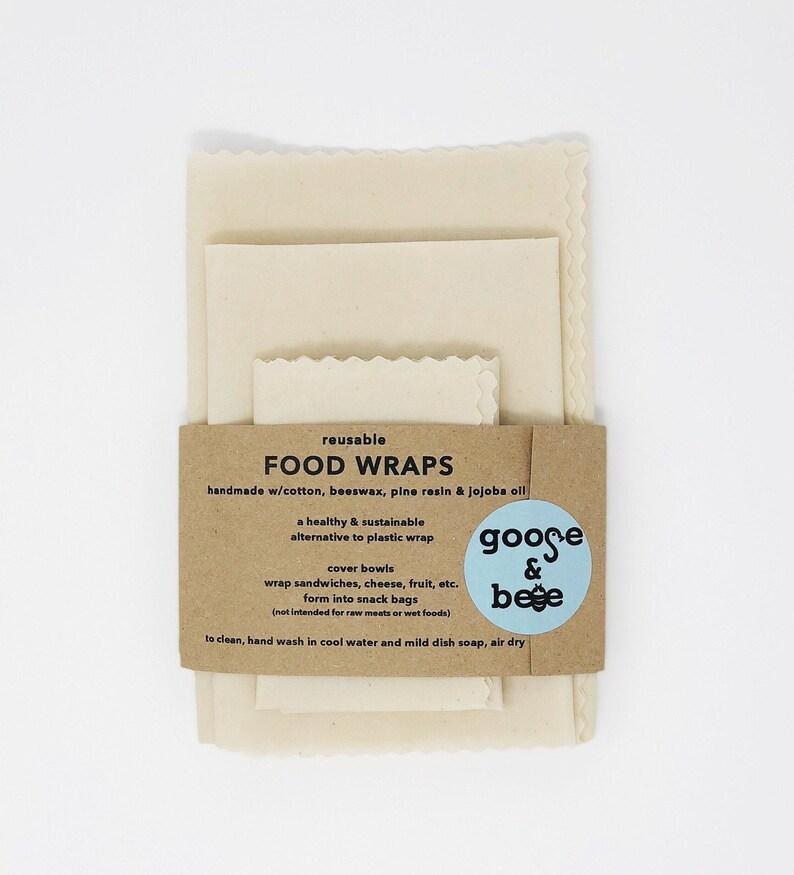 ORGANIC Reusable Food Wraps  3-pack  all natural eco image 0