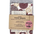 Beeswax Food Wraps | reusable eco friendly alternative to plastic | 3 pack