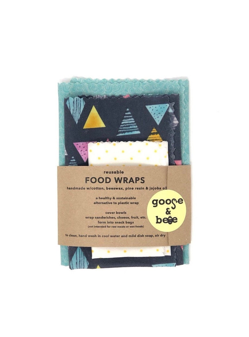 Reusable Beeswax Food Wraps  3 pack  eco friendly image 0