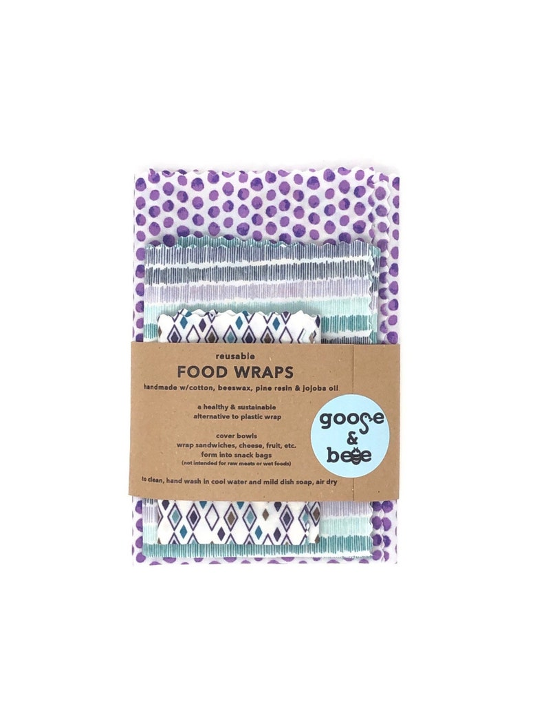 Beeswax Food Covers  3 pack  eco friendly alternative to image 0