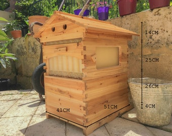 b.Life Flow Bee Hive, FREE SMOKER & GLOVES, Wooden Honey Beehive House 7 pcs Flow Frames