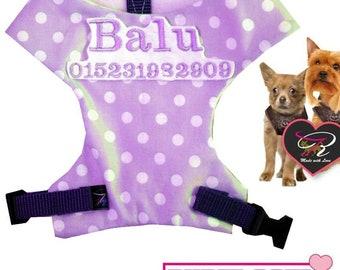 Dog Soft Harness with embroidery Name Hunde Softgeschirr für Chihuahua mit Namen Bestickt XXXS - XL