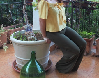 Summer Palace trousers for women in viscose-trousers Friscu-Made in Italy