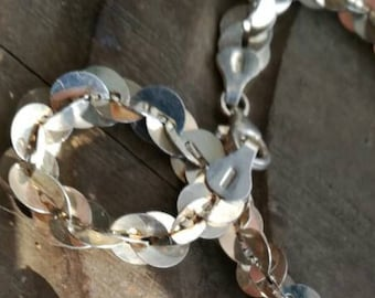 4156ea4c65c0ce Rare Sparkling silver chain, 925 sterling silver chain with Italy 925  hallmarked on clasps, unusual design, fine silver disc's or L sequins