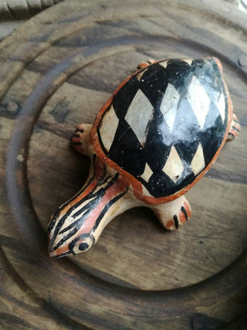 Earthenware Hand crafted CLAY Berber pottery Turtle or tortoise Polychrome antique NORTH AFRICAN  ceramic Kablye hand made figure