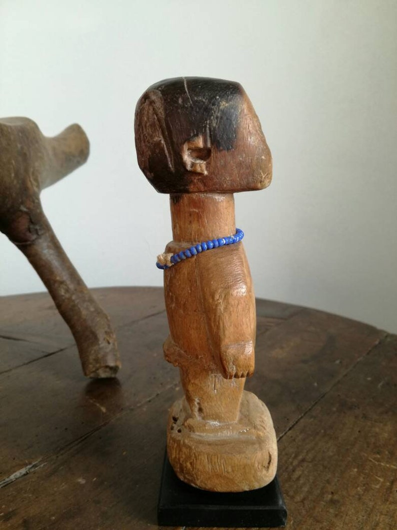 TRIBAL statue from Ghana, lovely worn and well lived patina, Venavi figure  with adornment, original and shows good signs of use and wear