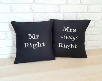 Mrs. Always Right Throw Pillows 16x16