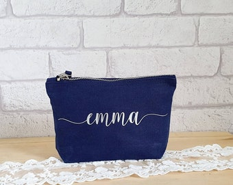 Personalised Cosmetics Bag~Make Up Bag~Navy Toiletries Bag~Gifts for Her~Bridesmaid Gift~Mothers Day Gift~Make Up Addict Gift~Gifts Under 10