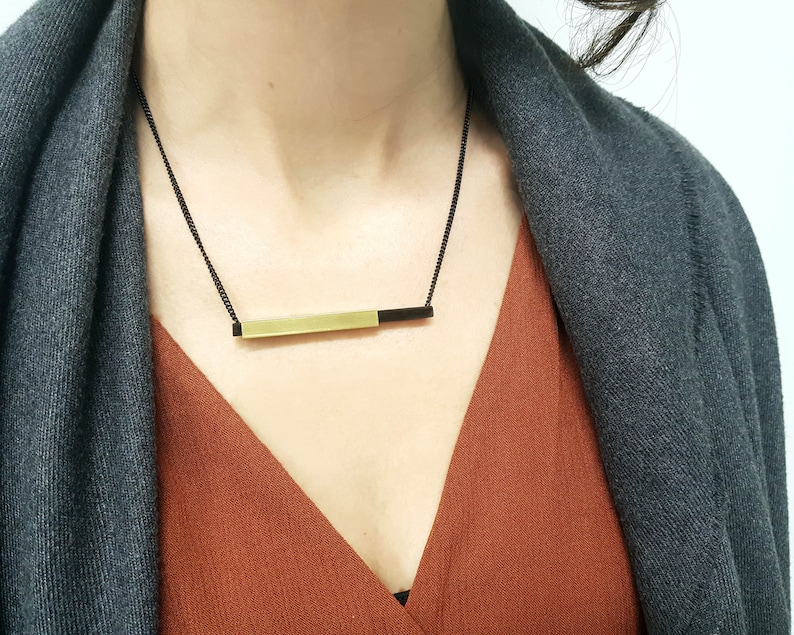 Brass and Wood Bar Necklace Simple but Elegant Black Natural Necklace Woodworking Upcycled Geometric Natural Jewelry Wood Lover Gift