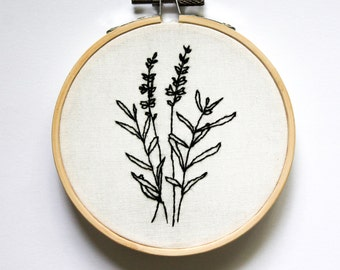 lavender plant small embroidery art hoop