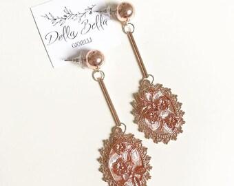 Bridal Rose Gold Earrings #dbg558