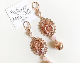 Bridal Rose Gold Earrings #dbg555