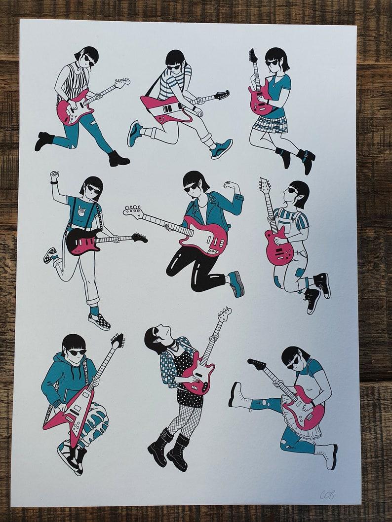 Guitar vampire art print image 1