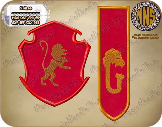 Set of two gryffindor faculty crest embroidery applique harry etsy