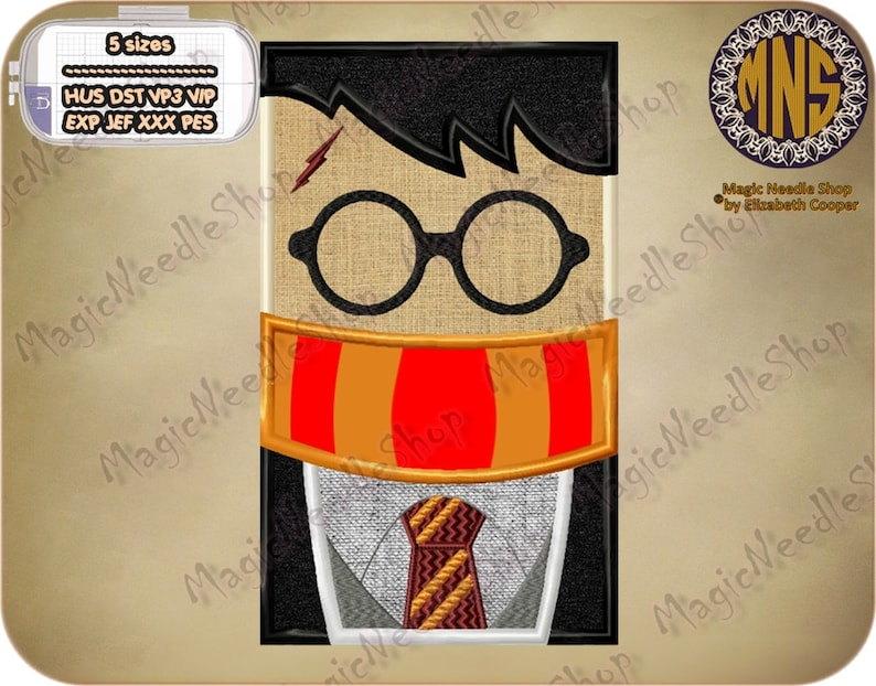 Harry potter applique embroidery design harry potter machine