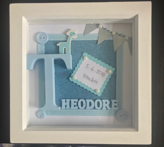 personalised baby frame boy girl box frame custom frames etsy