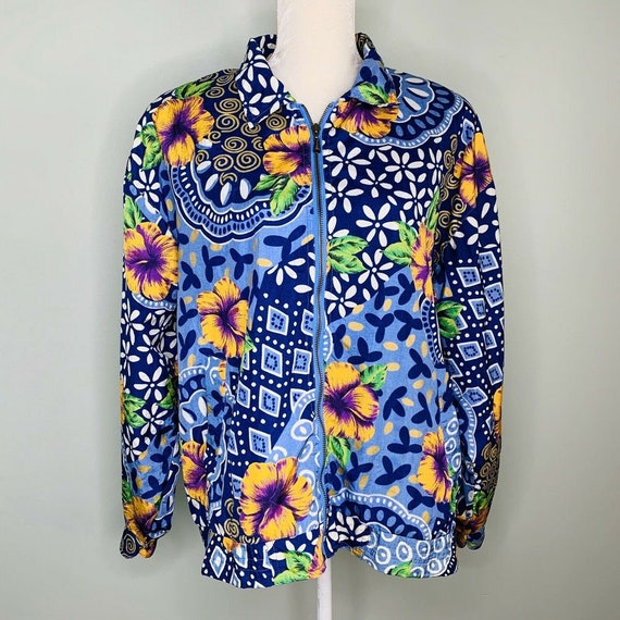 Andy Johns Women's Jacket Vintage Blue Yellow Flor