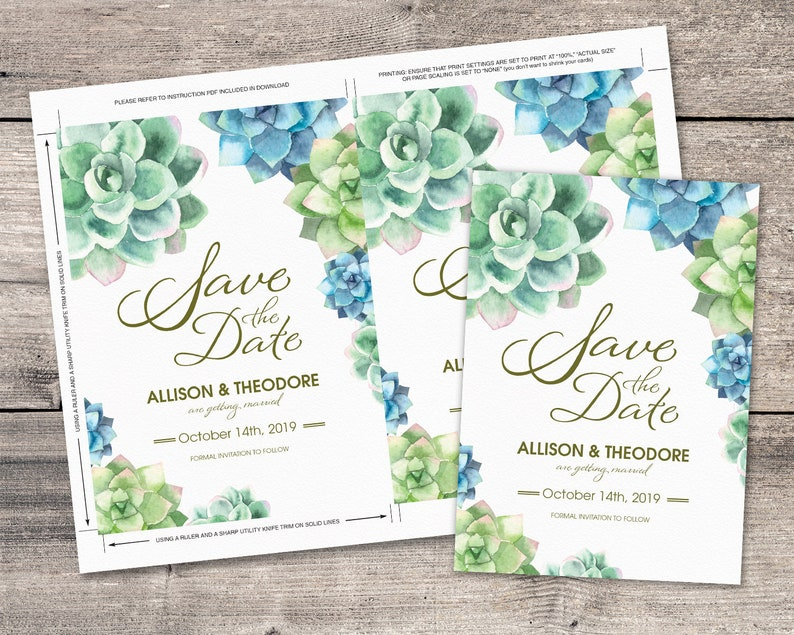Nature Wedding Stationery Save the Date Card Succulent Themed Watercolor Wedding Announcement Custom Printable